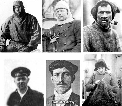 top row: Shackleton, Worsley, Crean; bottom row: McNeish, McCarthy, Vincent