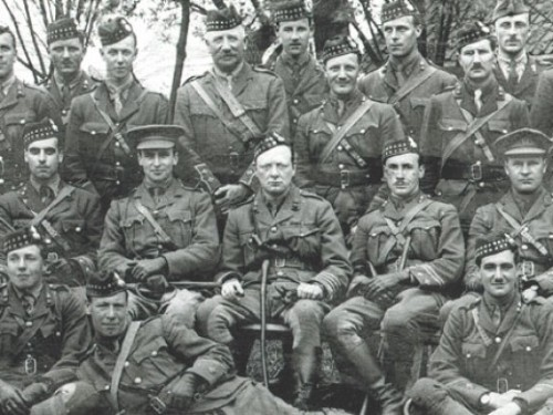 Winston Churchill, center; The Royal Scots Fusiliers at Ploegsteert, 1916