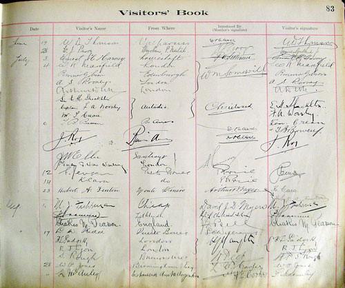 Visitor's Book, The British Club, Punta Arenas, Chile, 1916