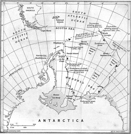 The route of the Endurance, the months of ice drift, and boat journey to South Georgia