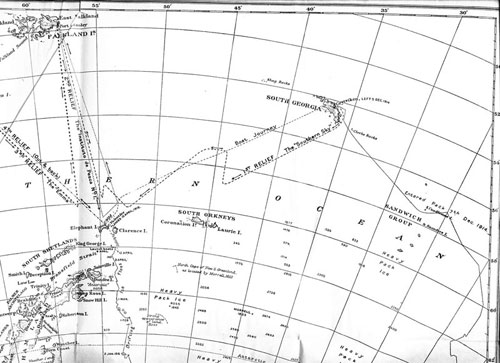 Routes of the 4 rescue journeys to Elephant Island