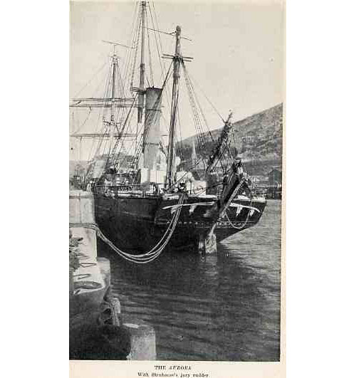 """The Aurora; photographer """"unknown, probably one of Aurora's crew; Shackleton never mentioned who took this photo in any of his books or records."""" (Wikipedia)"""