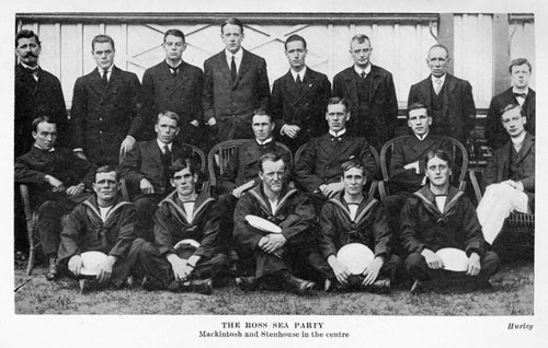 Ross Sea party members: Back row from left: Joyce, Hayward, Cope, Spencer-Smith. Centre: Mackintosh third from left, Stenhouse fourth from left.