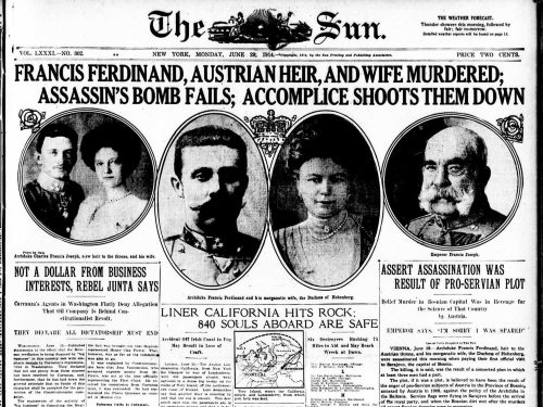 Francis Ferdinand, Austrian Heir, and Wife Murdered; Assassin's