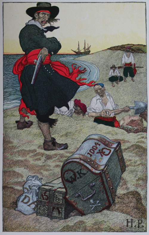 Captain Kidd and Treasure, by Howard Pyle