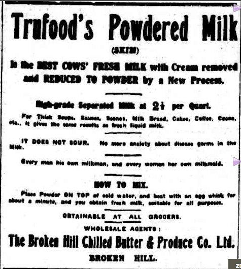 Ad in the Barrier Miner  newspaper (NSW), 1913