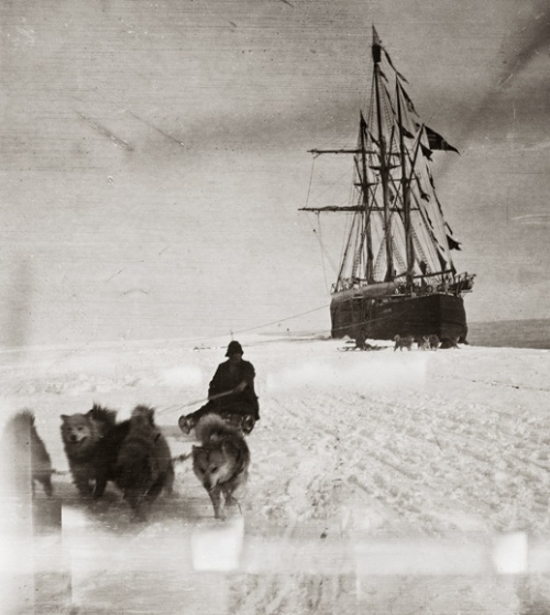 The Fram anchored in the Bay of Whales, during Amundsen's successful bid for the South Pole.