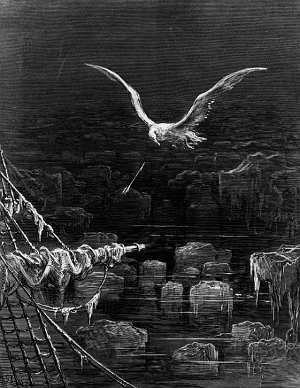 The albatross is shot by the Mariner by Gustave Dore, 1876 (wood engraving)