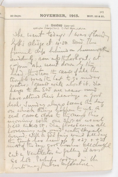 Diary page, Ernest Shackleton
