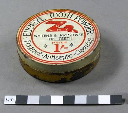 example of tooth powder container from Scott's Terra Nova hut